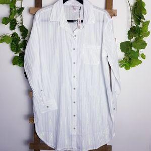 NWT Victoria's Secret Pinstripe Sleep Shirt Sz M